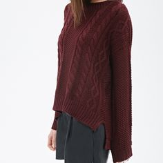 Maroon/Burgundy Forever 21 Oversized Sweater This oversized sweater from Forever 21 is super cute, comfy, and warm. It can be dressed up and down and always look good. It's a burgundy/ maroon color. Never worn out and in perfect condition! In a size small but is meant to be oversized :) Forever 21 Sweaters