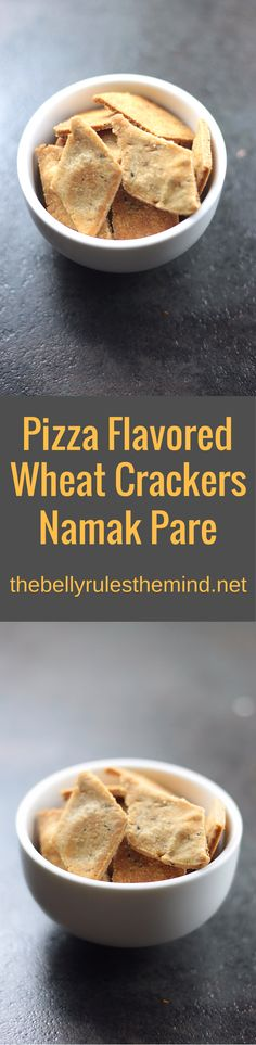 These baked & pizza flavored Namak Pare / Nimki / Savory Crackers are a great option for tea time snacking. All you need is 15 minutes and 6 easily available ingredients. They not only taste better than the regular store bought or fried ones, but are made healthy with our secret ingredient  www.thebellyrulesthemind.net