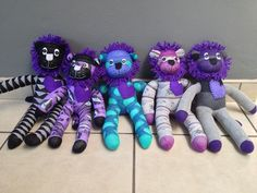 Sock Lions!! Too cute. they come in different colours. They are R140 each
