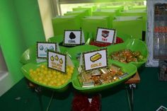 Themed treats at a Minecraft birthday party!  See more party planning ideas at CatchMyParty.com!