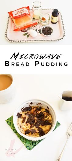 If you love making microwave cakes in a mug, you'll love this easy bread pudding recipe! This easy dessert is full of chocolate and vanilla goodness and uses the microwave to make it super fast! I made it in a ramekin so that I could make the portion larger. Because yum. It's so simple to throw together when you are looking for something sweet to nibble on.