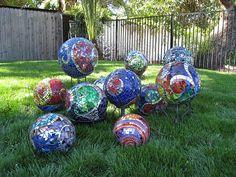 Friends' Mosaic Garden Spheres by grammylynda'spics, via Flickr