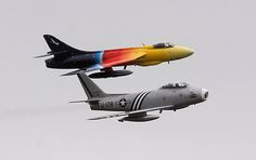 F-86 WITH HAWKER HUNTER F58 - GREAT SHOT!