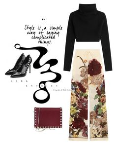 """""""More Valentino"""" by juliehooper ❤ liked on Polyvore featuring Valentino, black, floralpants, valentino and polyvoreeditorial"""