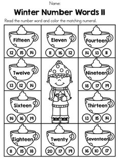 Winter Number Words >> Part of the Winter 1st Grade Math Worksheets packet >> Common Core Aligned