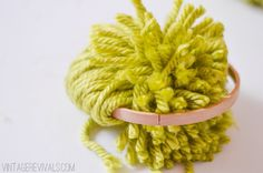 How To Make Giant Pom Poms Tutorial using an embroidery hoop for the template. vintagerevivals.com-10
