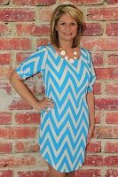 Blue Chevron Dress w/ Fitted Sleeves Ashley Lawrence