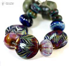 Lampwork Beads Kalypso Feathers Set  Handmade glass by radiantmind, $95.00
