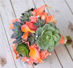 Natural Touch Orange Peach Roses, Callas and Succulents Mix Bouquet - Modern Silk Wedding Bouquets, Bride Bouquets, Flower Bouquet Wedding, Bridesmaid Bouquets, Wedding Dresses, Bridesmaids, Wedding Flower Guide, Rose Wedding, Wedding Ideas