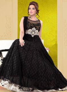 Impressive Black Net Ankle Length #Anarkali Suit