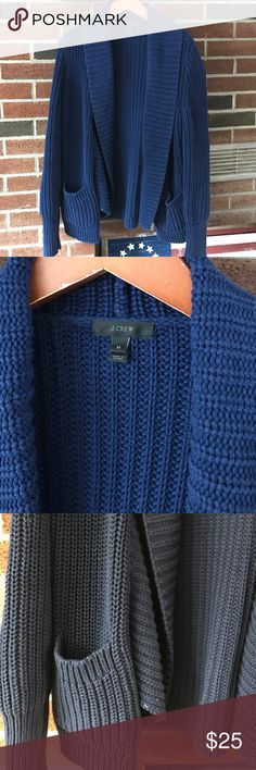 J. Crew chunky knit open cardigan J. Crew chunky knit open cardigan with pockets, size M, navy, great condition J. Crew Sweaters Cardigans