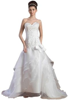 Angel Formal Dresses Draping Organza Crystals Sleeveless Wedding Dresses ^^ Amazing product just a click away  : Wedding Dresses