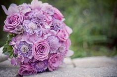 Lovely lavenders! Scabiosa, Cool Water roses, and lavender hydrangea. #bouquet