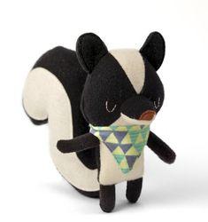 Toy Skunk, stuffed animal, soft toy, woodland creature, black and white, nursery decor, kawaii, baby shower gift, birthday present, plushy