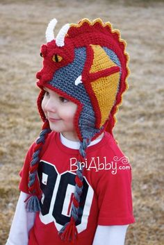 Looking for your next project? You& going to love Crochet Dragon Hat Pattern (US TERMS) by designer BriAbby. Earflap Beanie, Crochet Beanie, Knit Crochet, Ravelry Crochet, Crochet Doilies, Double Crochet, Single Crochet, Crochet Crafts, Crochet Projects