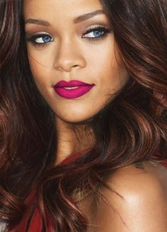 "Like Rihanna, try neutral bronze and brown eye hues with a burst of color like this cranberry lipstick!! (try Jordana 'Satin Rose"")"