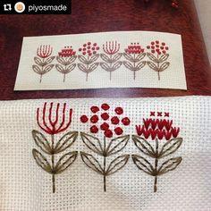 @piyosmade #needlework #handembroidery #bordado #broderie #embroidery #ricamo Cute Embroidery, Embroidery Patterns, Cross Stitch Embroidery, Beaded Embroidery, Hand Sewing Projects, Hand Embroidery Projects, Cross Stitching, Quilt Stitching, Embroidered Flowers