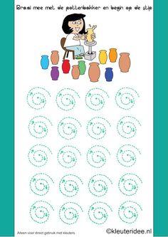 Thema kunst, draai mee met de pottenbakker, kleuteridee.nl , Art theme preschool.