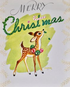 #retrochristmas #merrychristmas Vintage Christmas Card. Retro Christmas Card. Christmas Reindeer. Vintage Christmas Images, Vintage Holiday, Christmas Pictures, Vintage Greeting Cards, Christmas Greeting Cards, Christmas Greetings, Christmas Postcards, Merry Christmas, Christmas Deer