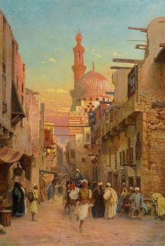 Street Scene In Cairo by Otto Pilny (Swiss, 1866-1936)