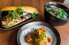 Three of our five 'One Dish Wonders' created by Bobby Chinn: Banh Mi sandwich, Bun Bo and Lobster Cellophane Noodles  www.houseofho.co.uk