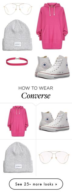 """Untitled #21"" by kenziemcguffey on Polyvore featuring Linda Farrow, Champion, Converse, contestentry and NYFWHotPink"