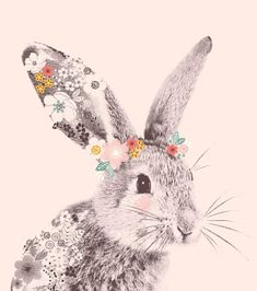 All about surface pattern ,textiles and graphics: Wish it was spring Watercolor Paintings Of Animals, Watercolor Art, Rabbit Illustration, Illustration Art, Cute Animal Drawings, Art Drawings, Bunny Tattoos, Stoff Design, Unicorn Pictures