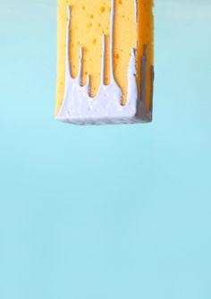 art direction | yellow sponge dipped in purple paint