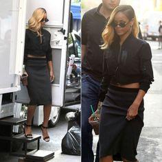 Rihanna in Yohji Yamamoto jacket, Mykita sunglasses and Azzedine Alaia sandals.