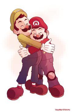 Brotherly Love by zacharyxbinks on DeviantArt Mario Bros., Mario And Luigi, Super Mario Brothers, Super Mario Bros, Brotherly Love, Father Figure, Art Memes, Deviantart, 90s Kids