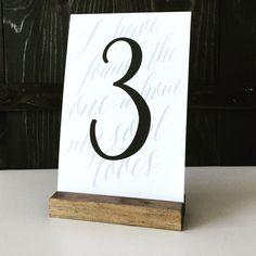 Table number holder wood sign holder menu holder by FreestyleMom