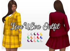 """dear-solar: """" """"yf outfit """" this clueless-esque outfit was inspired by LOONA/YYXY's unit-debut song comes in two versions, one plaid and one plain, with a merged file + psd file. Cher Clueless, Clueless Outfits, Kpop Outfits, Sims Four, Sims 4 Mm, Cc Top, Sims 4 Anime, Sims4 Clothes, Play Sims"""