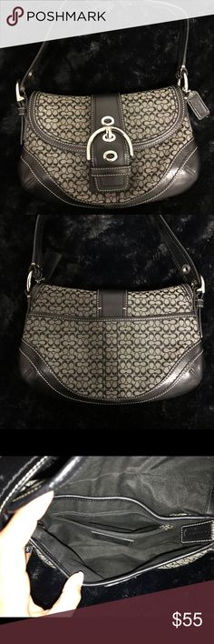 05009b112b3b0a COACH Black Buckle Medium Bag COACH Black Buckle Mini Soho Shoulder Purse.  Exterior is a