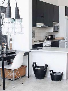 Preto e branco na cozinha