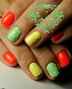 The Multi-Colored Nails. Use the summer rainbow colors to enjoy the rainbow all the season long.