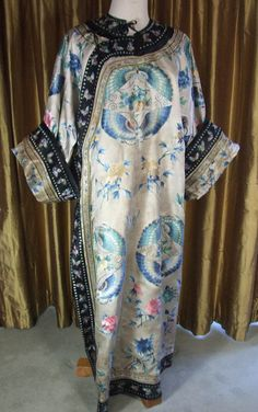 Antique Chinese  Butterfly Robe Silk Embroidery Asian Embroidered Textile