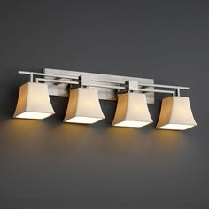 Justice Design Group CandleAria Aero Four-Light Brushed Nickel Bath Fixture by Justice Design Group. $340.20. - This fixture can be installed as an uplight or downlight. - Shade Detail - Cream - Shade Material - Faux Candle Resin