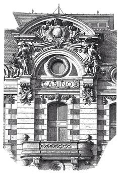 Dax, Landes. Casino. Architect P. Esquite. The architecture of the second half of the XIX century. Drawings and sketches.