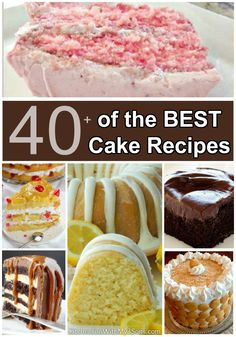 Over 40 of the BEST Cake Recipes - everything from Chocolate, Lemon, Banana, Pineapple, Fudge, Caramel, and so much more!