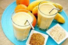 Havermout smoothie met lijnzaad, sinaasappel en banaan