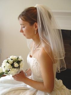 ELBOW VEIL with SWAROVSKI CLEAR CRYSTALS 20/25 IVORY UK WEDDING + PEARL EARRINGS