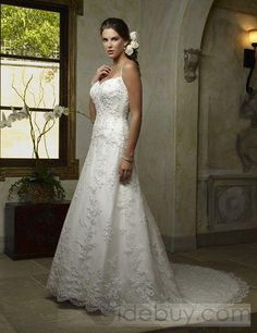 Dazzeling A-line Spaghetti Straps Embroidering Lace Chapel Train Wedding Dresses-tidebuy.com