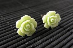 New to StumblingOnSainthood on Etsy: Cucumber Green Flower Earrings. Gardenia Flower Earrings with Bronze Stud Earrings. Handmade Jewelry. (10.00 USD)