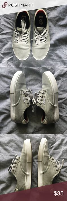 Vans shoes Light grey vans. Only worn once. Has a small stain on the right shoe. Size 5.0 youth. Euro size 36.5 Vans Shoes Sneakers