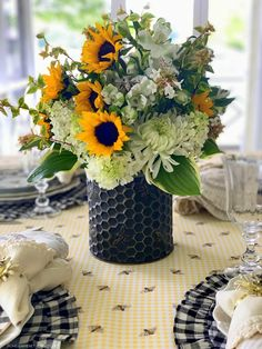 Buzzing with Bees: DIY Flower Arrangement and Summer Tablescape   ©homeiswheretheboatis.net #flowers #DIY #tablescape #bees #sunflowers #summer Cut Flowers, Tablescapes, Flower Arrangements, Bee, Table Decorations, Floral, Summer, Beautiful, Home Decor