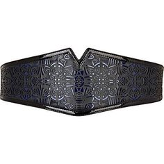 black and blue laser cut waist belt - belts - accessories - women - River Island 20 lires