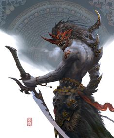 Beautiful Science Fiction, Fantasy and Horror art from all over the world. Fantasy Artwork, Fantasy Art, Samurai Artwork, Fantasy Warrior, Creature Art, Fantasy Creatures, Samurai Art, Fantasy Character Design, Dark Fantasy Art