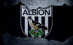Download wallpapers West Bromwich Albion, 4k, football, Premier League, England, emblem, logo, football club, West Bromwich, UK, metal texture, grunge