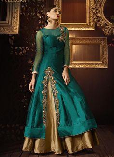 Buy Teal green color taffeta silk party wear lehenga at kollybollyethnics with free worldwide shipping.
