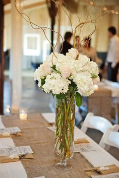 Simple Blush and Ivory Centerpieces Tall Flower Centerpieces, Tall Flower Arrangements, Small Wedding Bouquets, Wedding Flowers, Wedding Reception Decorations, Wedding Ideas, Table Flowers, Marie, 40th Cake